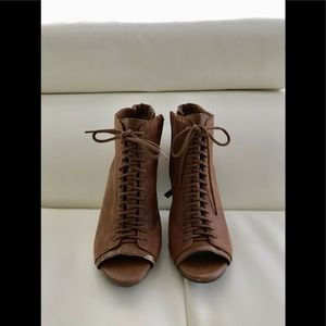 JS brown booties , size 8